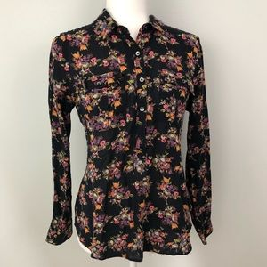 Madewell Long Sleeve Button Down Floral Blouse GUC